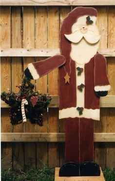 Santa Wood Craft Tall For The Porch Christmas Primitive