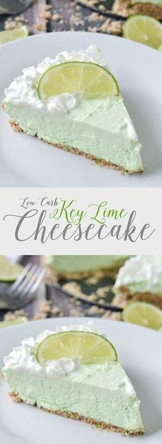Low Carb Recipes - An easy recipe for rich and creamy low carb key lime cheesecake. Not only is this cheesecake delicious it's easy to make too! Desserts Keto, Sugar Free Desserts, Just Desserts, Paleo Dessert, Lime Desserts, Low Carb Deserts, Low Carb Sweets, Healthy Sweets, Healthy Food