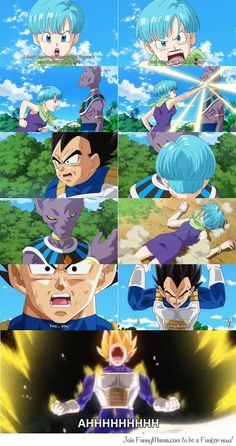 Beerus/Bills hits Bulma in front of Vegeta. Manga Anime, Dc Anime, Anime Art, Dbz, I Love Anime, Awesome Anime, Vegeta Y Trunks, Fairy Tail, 17 Kpop