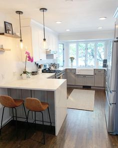 The Sigfred Counter Stools make a rather great stool accents in kitchen! Kitchen Room Design, Kitchen Redo, Modern Kitchen Design, Living Room Kitchen, Home Decor Kitchen, Kitchen Interior, New Kitchen, Home Kitchens, Kitchen Ideas