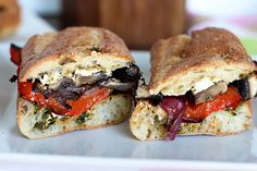 rosted veggie, pest and goat cheese sandwich