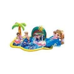 Amazon.com: Banzai Baby Sprinkles Splish Splash pool: Toys & Games. Although it did pop a hole, the kids love splashing around in this and it seems safer than the traditional kiddie pool for 1 & 2 year olds.