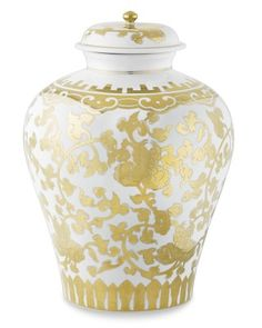 Gold-Lidded Temple Ginger Jar: Handpainted blooms and scrolling vines wrap around this lidded jar, a lavish pattern made even more opulent by a palette of gleaming gold on white. #williamssonoma
