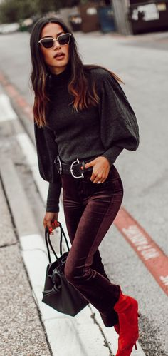 #fall #outfits women's black long-sleeved crew-neck top with maroon pants. Click To Shop This Look.