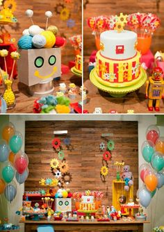 Robot birthday party cake and decor