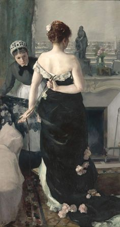 Helping with her dress. 'Return From the Ball' by Alfred Roll