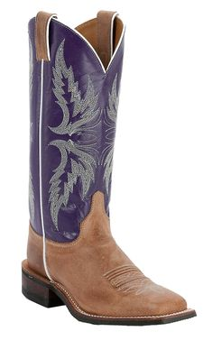Justin Bent Rail Ladies Vintage Tan with Purple Top Square Toe Western Boots