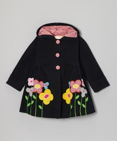 Black Gingham Flower Hooded Swing Coat