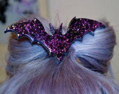 Bat Necklace hair clip Holo Glitter, Pastel Goth, Fairy Kei, Soft Grunge, Kawaii