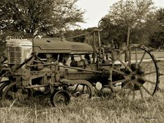 Antique Tractor In Sepia Photograph by Betty Northcutt