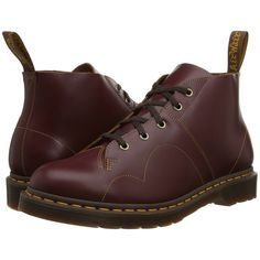 Dr. Martens Church Monkey Boot Lace-up Boots, Burgundy ($100) ❤ liked on Polyvore featuring shoes, boots, burgundy, slip resistant shoes, slip resistant boots, dr martens boots, platform shoes and laced boots