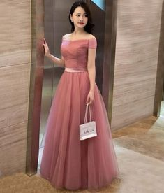 Elegant pink evening gownssexy ball gowns custom made promnew fashionA line off shoulder tulle long prom dress evening dress A Line Evening Dress, Evening Dresses Online, Evening Party Gowns, Women's Evening Dresses, Dress Online, Simple Prom Dress, Tulle Prom Dress, Bridesmaid Dresses, Prom Dresses
