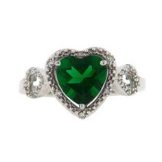 Diamond Green Emerald Gemstone Heart Shaped White Gold Ring Available Exclusively at Gemologica.com