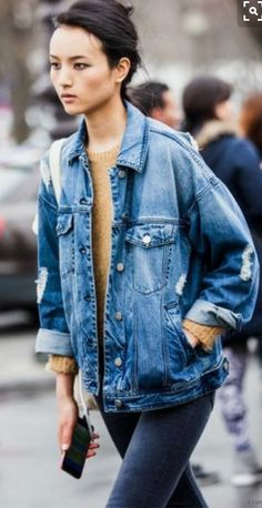 c7de8114e5e closet ideas fashion outfit style apparel Ripped Denim Jacket and Sweater