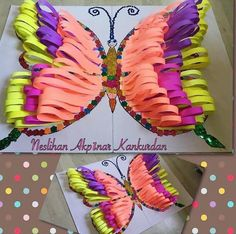 activities with paper loops 3d Art Projects, Projects For Kids, Crafts For Kids, Arts And Crafts, Butterfly Crafts, Butterfly Art, Flower Crafts, Rainy Day Crafts, Summer Crafts