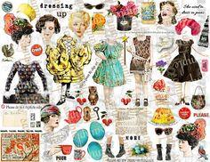 ART TEA Sale Collage Sheet journal digital file printable download decoupage scrapbook card tag print download tags party favor