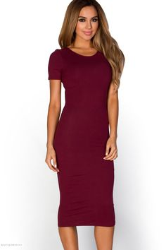 T-Shirt Style Bodycon Burgundy Midi Dress with Sleeves