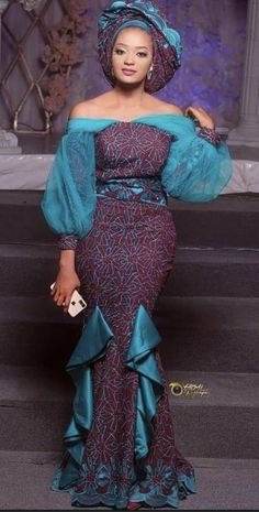 Nigerian Lace Styles Dress, Nigerian Outfits, Long African Dresses, African Lace Styles, Lace Dress Styles, Latest African Fashion Dresses, African Print Fashion, African Wear Designs, African Traditional Wedding Dress
