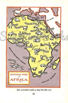 Vintage Map of Africa Print  Animals of Africa  by SunshineBooks, $7.95