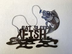 Eat Sleep Fish  - Fishing sign -  Fishing Art metal Art  - Wall Art - Wall Hanging Home Decor by GarrettsMetalArt on Etsy https://www.etsy.com/listing/469327435/eat-sleep-fish-fishing-sign-fishing-art