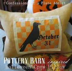 Pottery Barn Inspired Halloween Crow Pillow.  I can make this