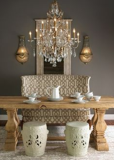 grey wall, gold subtle accents, chair pattern (maybe on pillows)- Love this color scheme: white bedspread, euro shams color of table, pattern accent pillows, grey walls, sparkle in accessories