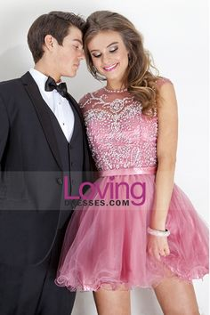 2015 Beaded Bodice Scoop A Line Short/Mini Homecoming Dresses Tulle $238.99 Sweet 16 Dresses