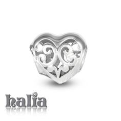 Filigree Heart: Divinely detailed heart bead: designed exclusively by Halia, this bead fits other popular bead-style charm bracelets as well. Sterling silver, hypo-allergenic and nickel free.   $35.00