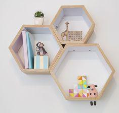 Honey comb shelves, nursery decor