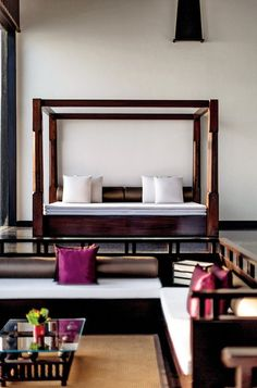 A sleek daybed in the open-air lounge at the Vivanta by Taj Madikeri, in Coorg.