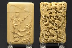 Two Chinese Carved Ivory Card Cases