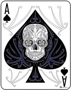 """Ace of Spades"" The perfect sugar skull card for your game room or man cave."
