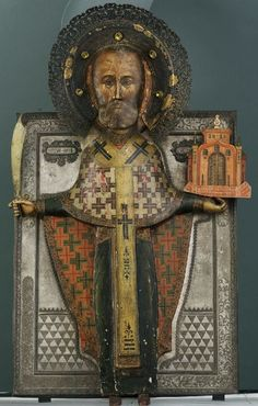 Saint Nicholas of Mozhaisk, Circa 1800, Unknown [This extraordinary item is on display at the Museum of Russian Icons in Clinton, MA]