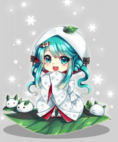 Tags: Anime, Hatsune Miku, Vocaloid, Snowflakes, Leaves, Snow Rabbit, Alternate Hairstyle
