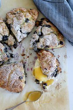 Lemon & Blueberry Scones with Lemon Curd & Buttermilk Whipped Cream - The Brick Kitchen