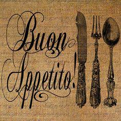 Buon Appetito Italian Quote Bon Appetite Fork Knife by Graphique, $1.00