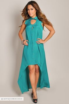 Solid green silk high low dress