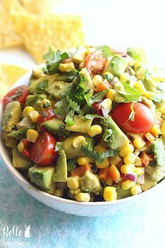 This corn and avocado salsa recipe is full of fresh and colorful flavors. It's perfect served with chips, or try it as a yummy topping for a grilled chicken or fish dinner!