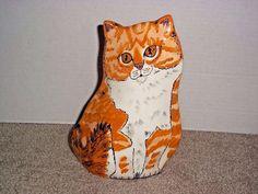 "Cats by Nina Lyman Tabby Cat Ceramic Vase 8.5"" Animal Lover"
