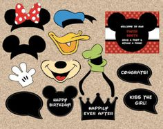 printable Disney photobooth props - digital DIY mickey party photo booth