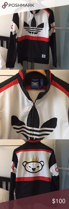 Adidas Track Jacket Navy blue, white and red Adidas track jacket in a men's medium. Worn a handful of times. Ready for a new home. ❤️no trades. Adidas Jackets & Coats