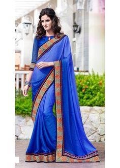 Party Wear Blue Jacquard Saree  - 70866