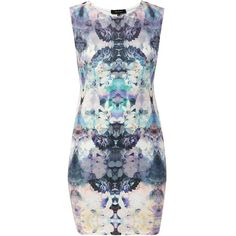 White Purple Scuba Mirrored Print Bodycon Dress ($18) ❤ liked on Polyvore featuring dresses, white dresses, metallic cocktail dress, white body con dress, bodycon dress and print bodycon dress