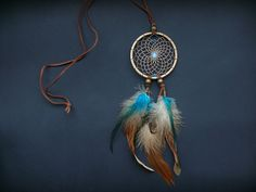 Dreamcatcher pendant necklace bohemian hippie by DeiDreamCatchers