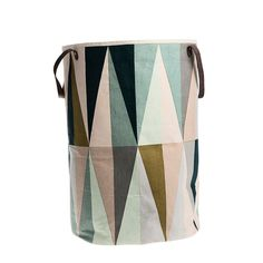 The shapely Spear Laundry Basket was designed for the label ferm Living. The laundry basket by ferm Living convinces with its clear, graphic design and high-qu Large Storage Bags, Toy Storage Bags, Storage Baskets, Kids Storage, Extra Storage, Storage Ideas, Laundry Hamper, Laundry Room, Toddler Girls