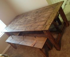 Custom wood farmhouse rustic dinning room table by TheKnottedTable