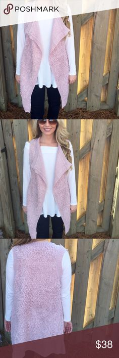 Pink vest This pretty in pink vest features soft fabric and a draped silhouette.    -60%cotton  -40% Acrylic   -Wearing size small Jackets & Coats Vests