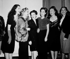 This big-name sextet making a recording for the GI's overseas Christmas broadcast on Oct. 30, 1944 in Hollywood, Calif. during World War II. The group from left includes: Virginia O' Brien, Frances Langford, Judy Garland, Dorothy Lamour, Ginny Simms and Dinah Shore.