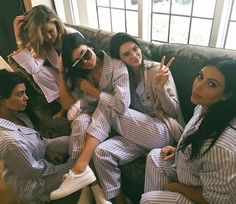 Pin for Later: Kim Kardashian's Baby Shower Was Basically #WeekendGoals  The Kardashian-Jenner sisters posed in their matching pajamas. We wonder if this is what the holidays were like at their house?