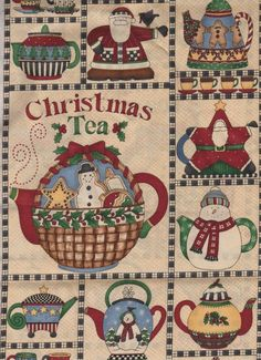 FQ Debbie Mumm Christmas Tea snowman santa pot gingerbread Fabric fat quarter